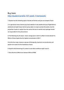 BI 101 Week 1 Homework