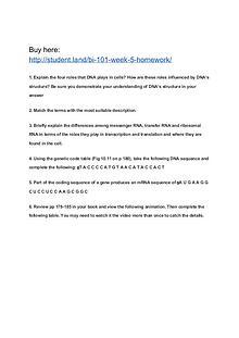 BI 101 Week 5 Homework