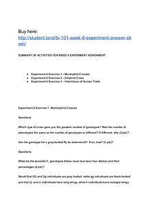 BI 101 Week 6 Experiment Answer Sheet