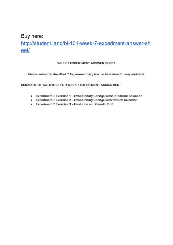 BI 101 Week 7 Experiment Answer Sheet Park University