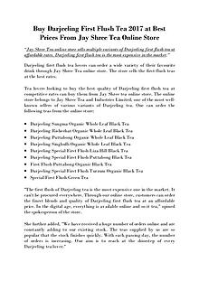 Buy Darjeeling First Flush Tea 2017 at Best Prices from Jay Shree Tea