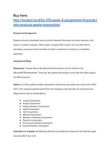 FIN 370 Week 3 Assignment Financial Ratio Analysis (Apple Corporation