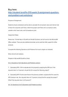 FIN 370 Week 3 Assignment Question and Problem Set (Solutions)
