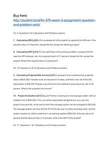 FIN 370 Week 3 Assignment Question and Problem Sets