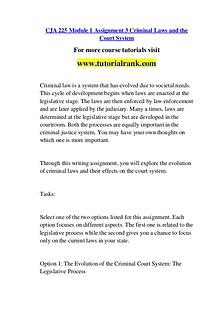 CJA 225 Course Great Wisdom / tutorialrank.com