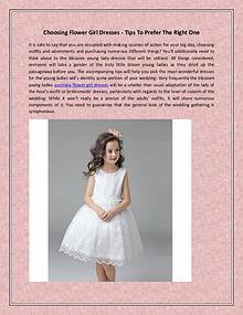 Choosing Flower Girl Dresses - Tips To Prefer The Right One