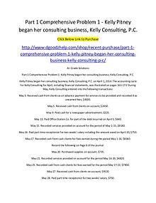Part 1 Comprehensive Problem 1 - Kelly Pitney began her consulting bu
