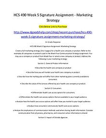 HCS 490 Week 5 Signature Assignment - Marketing Strategy