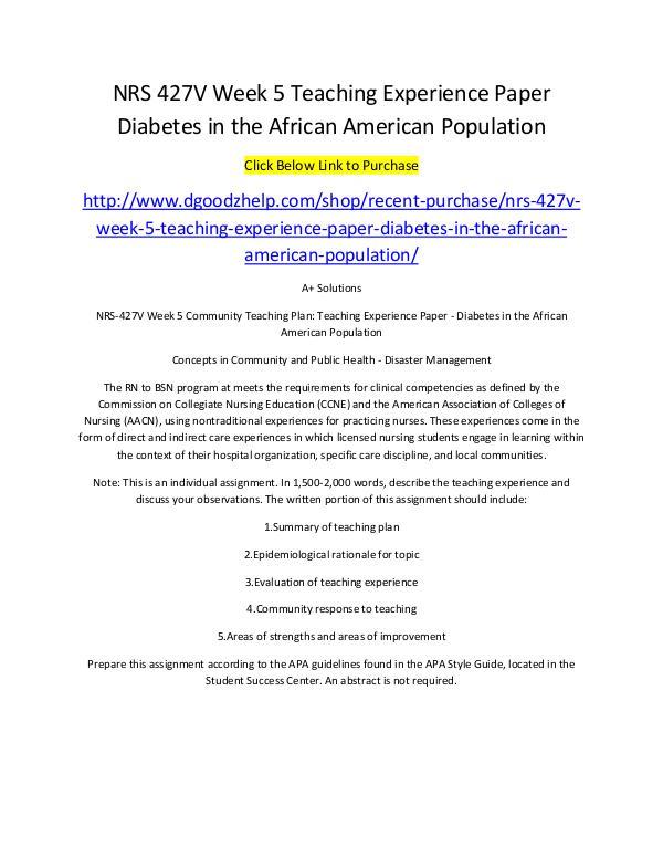 NRS 427V Week 5 Teaching Experience Paper Diabetes in the African Ame NRS 427V Week 5 Teaching Experience Paper Diabetes