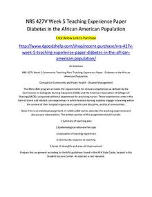 NRS 427V Week 5 Teaching Experience Paper Diabetes in the African Ame