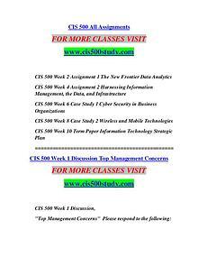 CIS 500 STUDY Extraordinary Life/cis500study.com