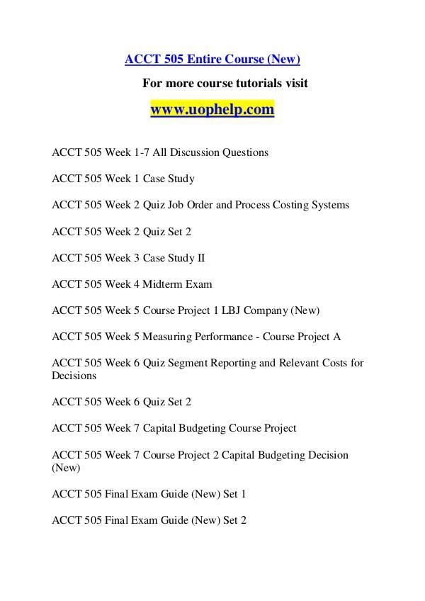 ACCT 505 Dreams Come True /uophelp.com ACCT 505 Dreams Come True /uophelp.com
