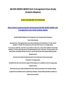 AB 203 AB203 AB203 Unit 4 Assignment Case Study Analysis (Kaplan)