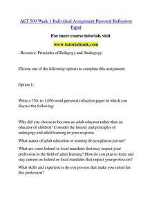 AET 500 Course Great Wisdom / tutorialrank.com