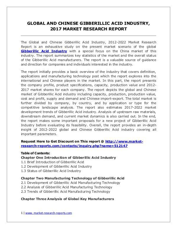 Gibberillic Acid Market Trends and 2022 Forecasts for Manufacturers Global Gibberillic Acid Industry Forecast Study 20