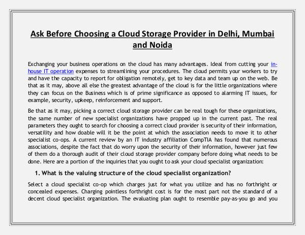 Ask Before Choosing a Cloud Storage Provider in Delhi, Mumbai and Noi Ask Before Choosing a Cloud Storage Provider in De