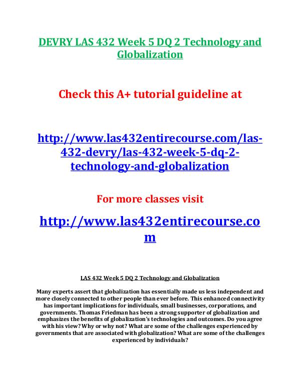 las 432,devry las 432,devry las 432 entire course,devry las 432entire DEVRY LAS 432 Week 5 DQ 2 Technology and Globaliza