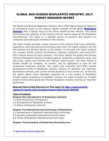 2017 Bioplastics Industry Report – Global and Chinese Market Scenario