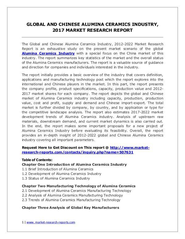 Global Alumina Ceramics Industry Analyzed in New Market Report Alumina Ceramics Market 2012-2022 Analysis