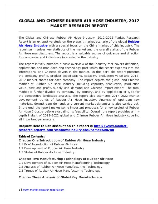 Rubber Air Hose Market Global and Chinese Analysis for 2012-2022 Rubber Air Hose Market 2012-2022 Analysis