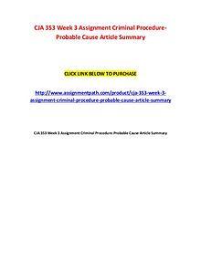CJA 353 Week 3 Assignment Criminal Procedure