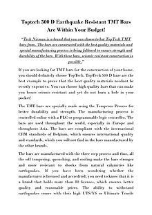 Toptech 500 D Earthquake Resistant TMT Bars