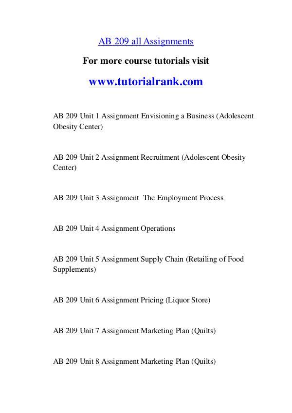 AB 209 Experience Tradition / tutorialrank.com AB 209 Experience Tradition / tutorialrank.com