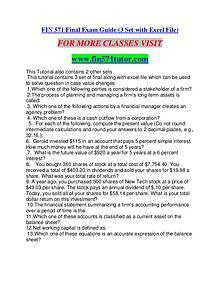 FIN 571 TUTOR  Education is Power/fin571tutor.com