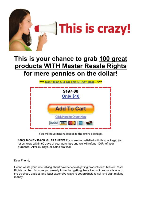 Grab 100 great products with master resale rights Grab 100 great products with master resale rights