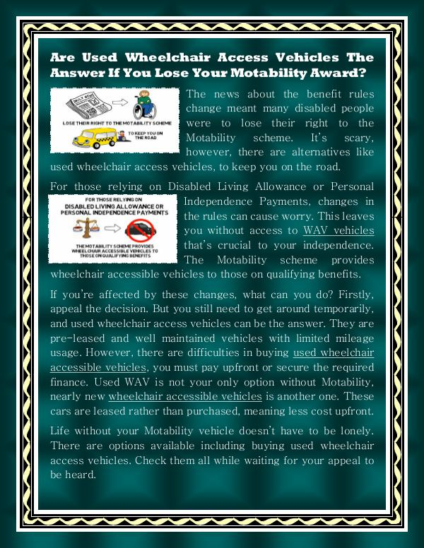 Used Wheelchair Accessible Vehicles Used Wheelchair Accessible Vehicles