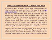 General Information about Ac distribution board