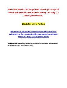 NRS 430V Week 3 CLC Assignment - Nursing Conceptual Model Presentatio