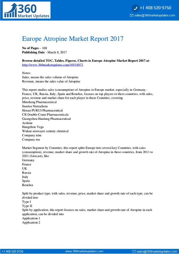 Europe Atropine Market Size, Growth Drivers, Marke