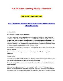 POL 201 Week 2 Learning Activity - Federalism