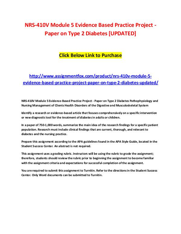NRS-410V Module 5 Evidence Based Practice Project - Paper on Type 2 D NRS-410V Module 5 Evidence Based Practice Project