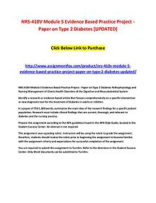 NRS-410V Module 5 Evidence Based Practice Project - Paper on Type 2 D