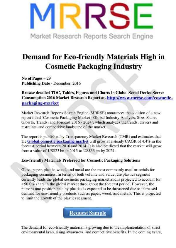 Demand for Eco-friendly Materials -MRRSE