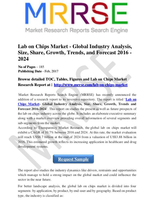 Demand for Eco-friendly Materials High in Cosmetic Packaging Industry Global Lab on Chips Market