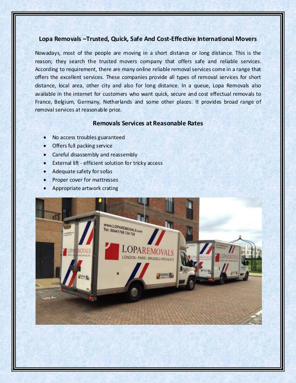 Lopa Removals –Trusted, Quick, Safe And Cost-Effective International Lopa Removals –Trusted, Quick, Safe And Cost-Effec