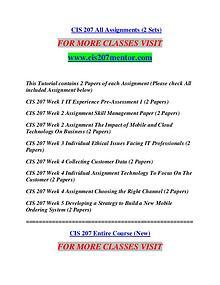 CIS 207 MENTOR It's Your Life/cis207mentor.com
