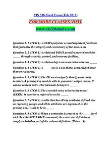 CIS 336 STUDY It's Your Life/cis336study.com
