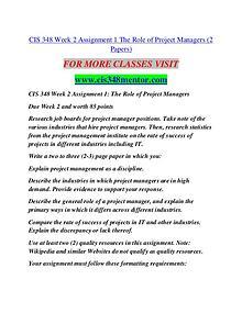 CIS 348 MENTOR It's Your Life/cis348mentor.com