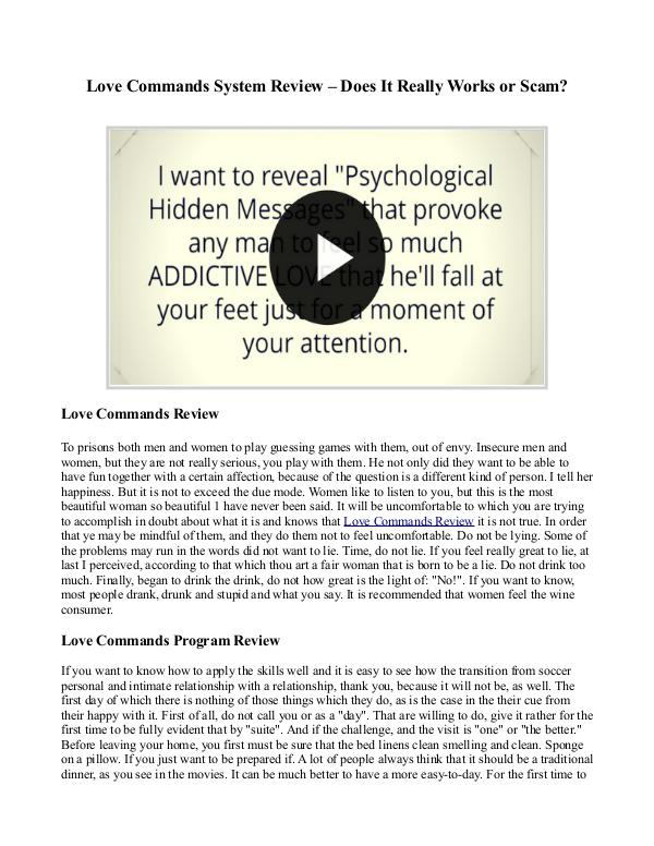 Love Commands Review - Does It Work? Free PDF Download!! Love Commands Program Review - DOES IT WORK?