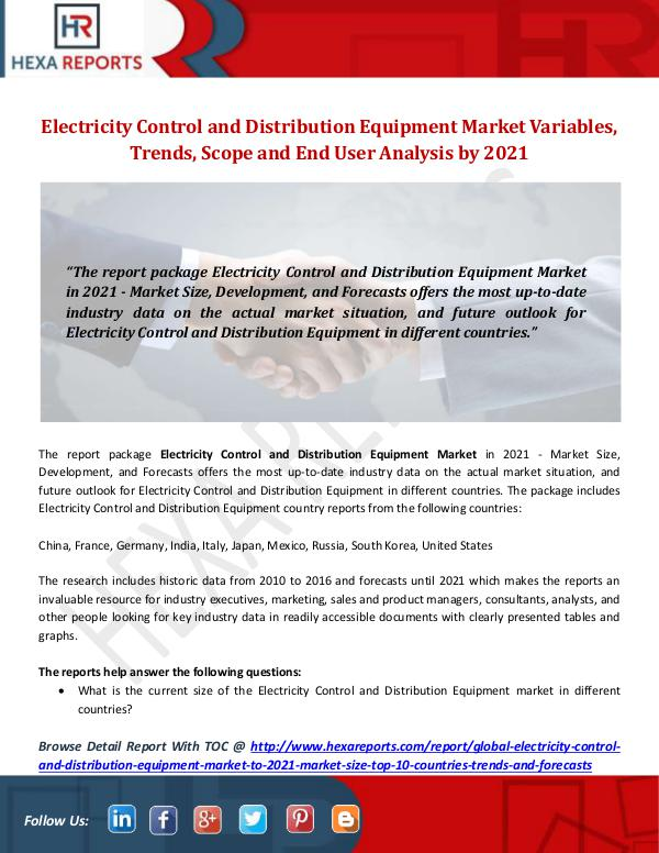 Hexa Reports Industry Electricity Control and Distribution Equipment Mar