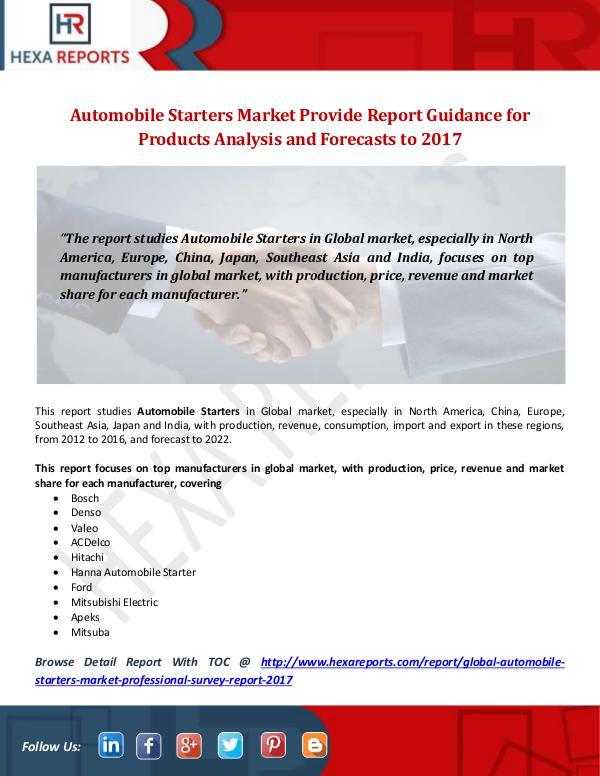 Hexa Reports Industry Automobile Starters Market