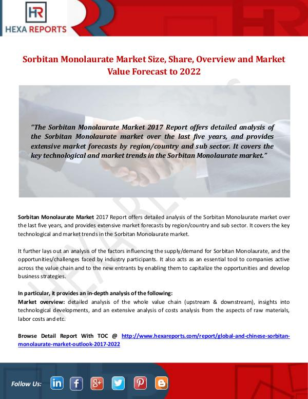 Hexa Reports Industry Sorbitan Monolaurate Market Size, Share by 2022
