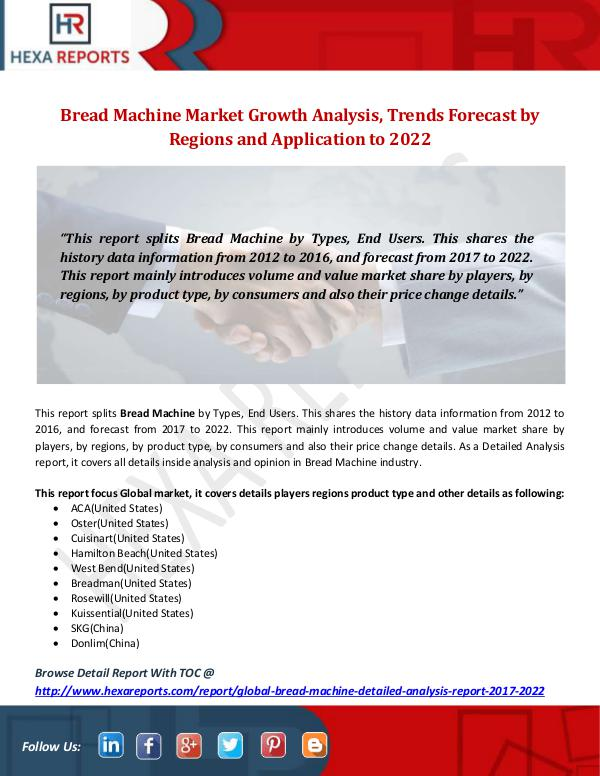 Hexa Reports Industry Bread Machine Market