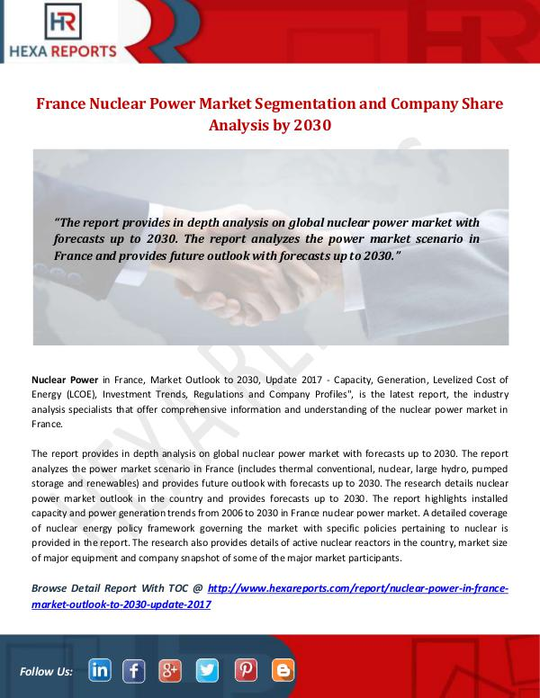 Hexa Reports Industry France Nuclear Power Market