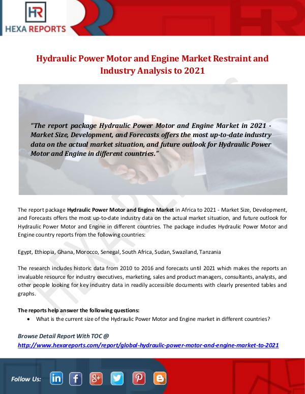 Hydraulic Power Motor and Engine Market