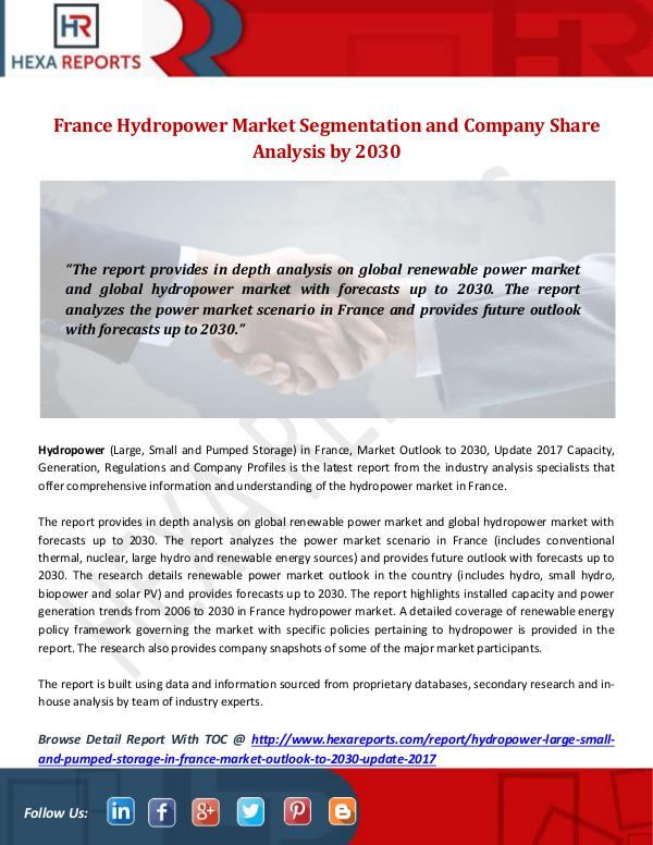 Hexa Reports Industry France Hydropower Market